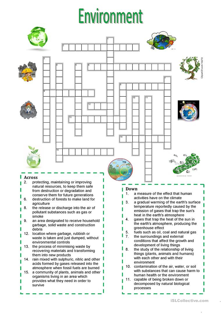 Environment - Crossword Puzzle Worksheet - Free Esl Printable - Printable Crossword Puzzles Esl