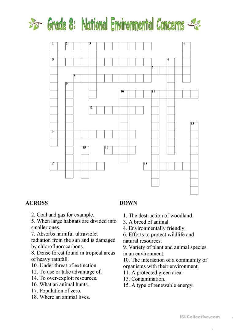 Environmental Crossword Worksheet - Free Esl Printable Worksheets - Printable Crosswords Grade 6