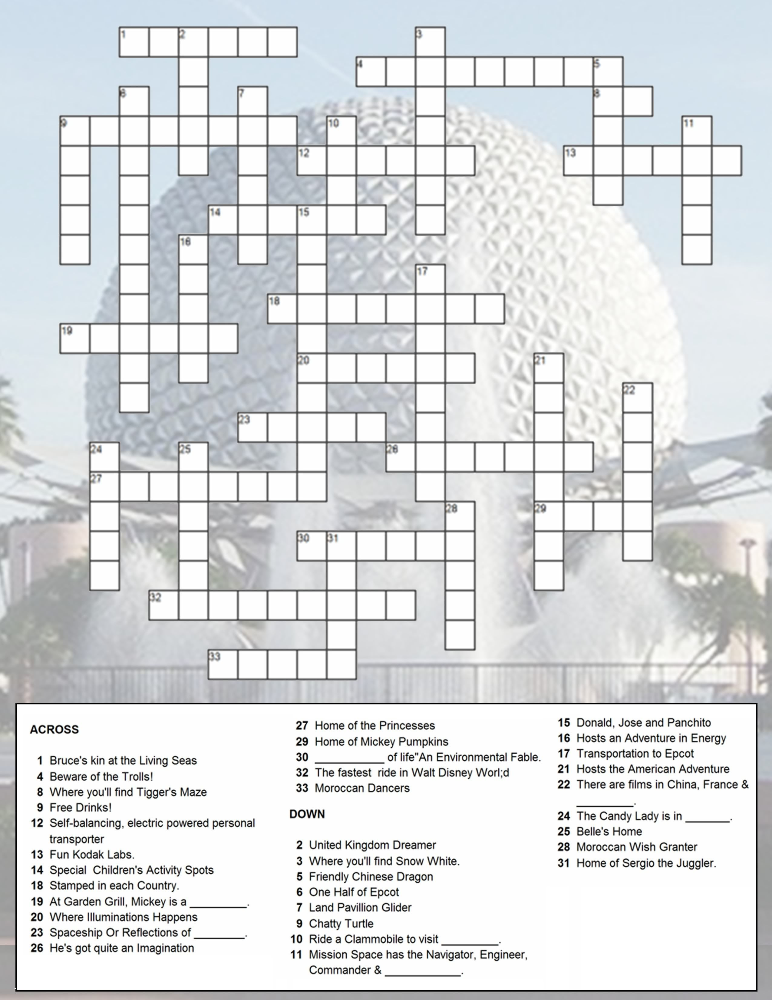 Epcot Crossword Puzzle | Just Because You Have A Fast Passdoesn't - Printable Crossword Disney