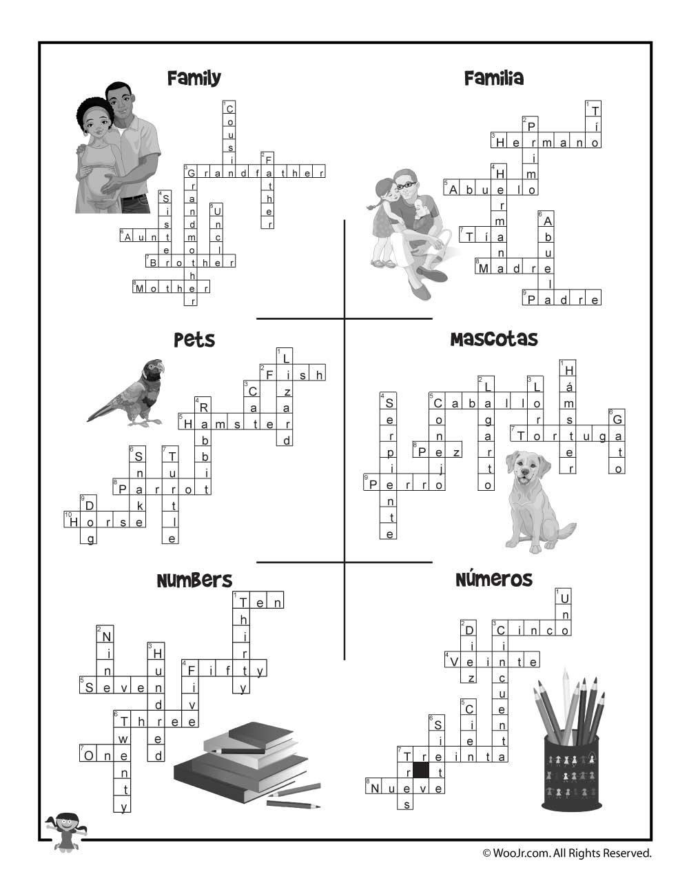 Esl Worksheet Crossword Puzzle Answers | Woo! Jr. Kids Activities - Printable Crossword Puzzles Spanish