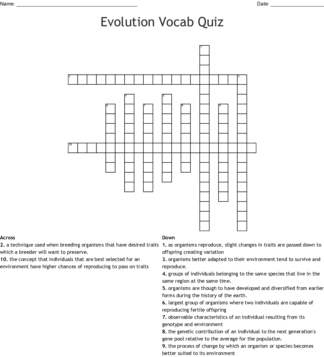 Evolution Vocab Quiz Crossword - Wordmint - Printable Vocabulary Quiz Crossword Puzzle