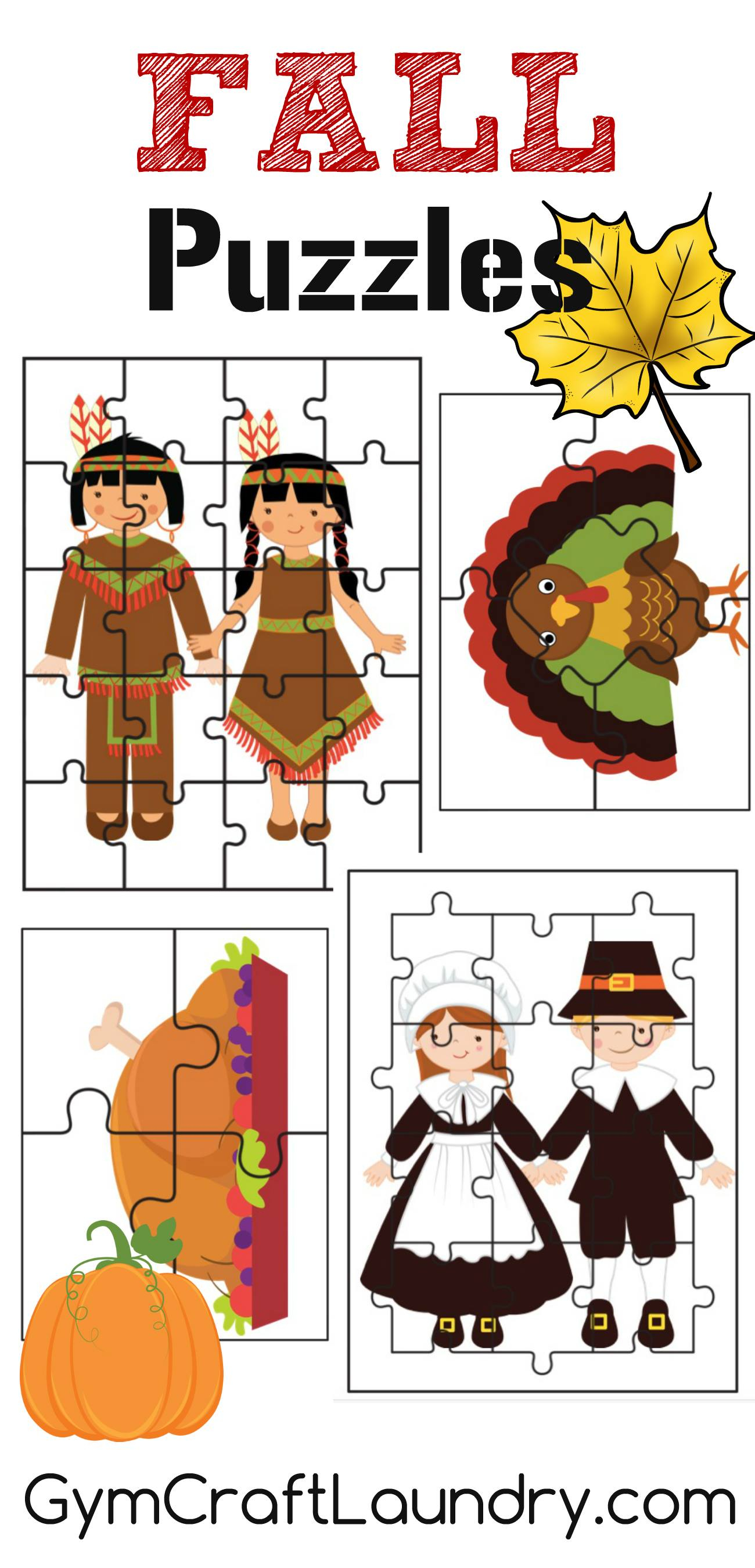 Fall And Thanksgiving Puzzle Activities Printables - Gym Craft Laundry - Printable Puzzles For Preschoolers