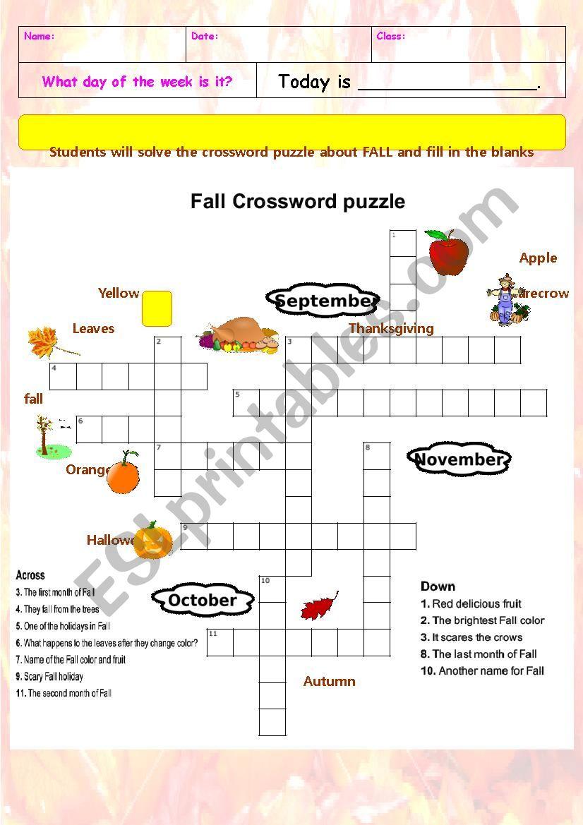 Fall Crossword Puzzle - Esl Worksheettchen_Anastassia - Fall Crossword Puzzle Printable