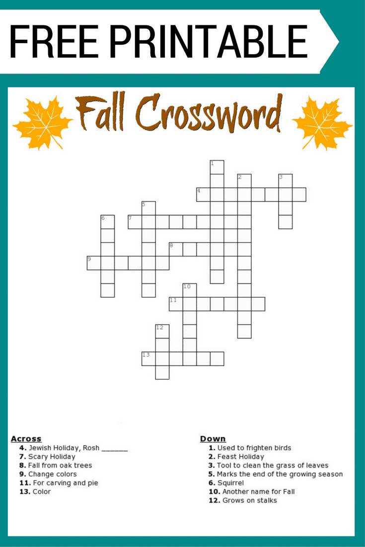 Fall Crossword Puzzle Free Printable Worksheet - First Grade Crossword Puzzles Printable