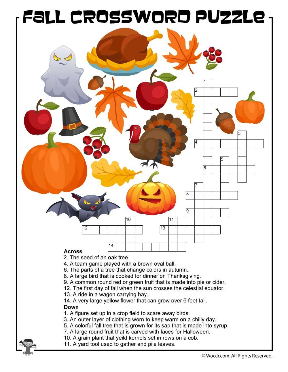 Fall Crossword Puzzle Printable | Halloween | Word Puzzles, Puzzles - Fall Crossword Puzzle Printable