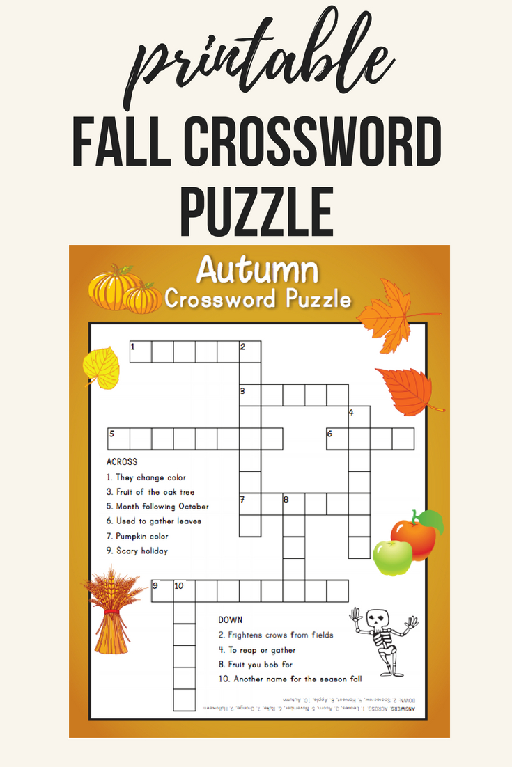 Fall Crossword Puzzle | Printables | Word Puzzles, Crossword, Puzzle - Reading Printable Puzzle