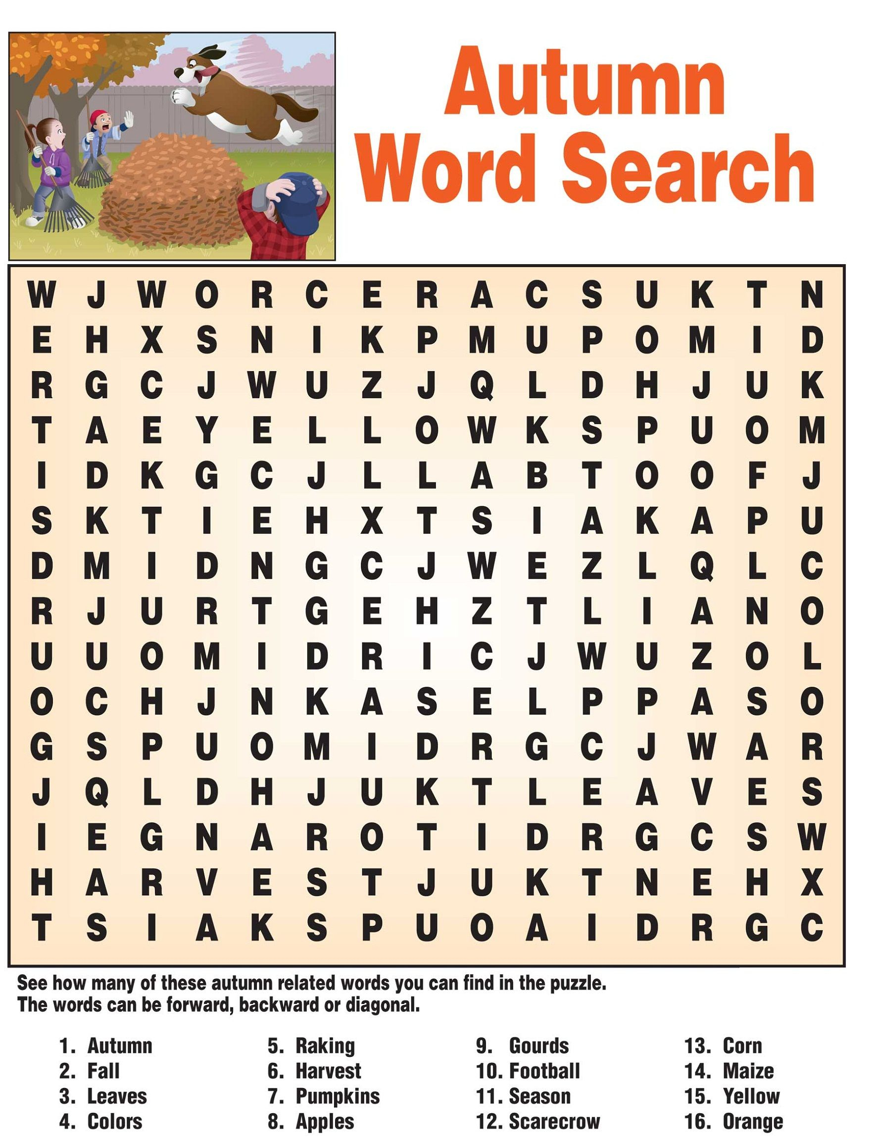 Fall Word Search - Best Coloring Pages For Kids - Printable Autumn Puzzles
