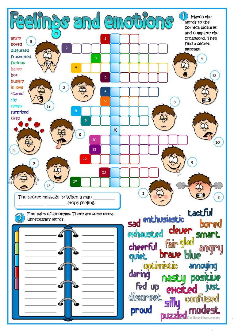 Feeling And Emotions Worksheet - Free Esl Printable Worksheets Made - Feelings Crossword Puzzle Printable