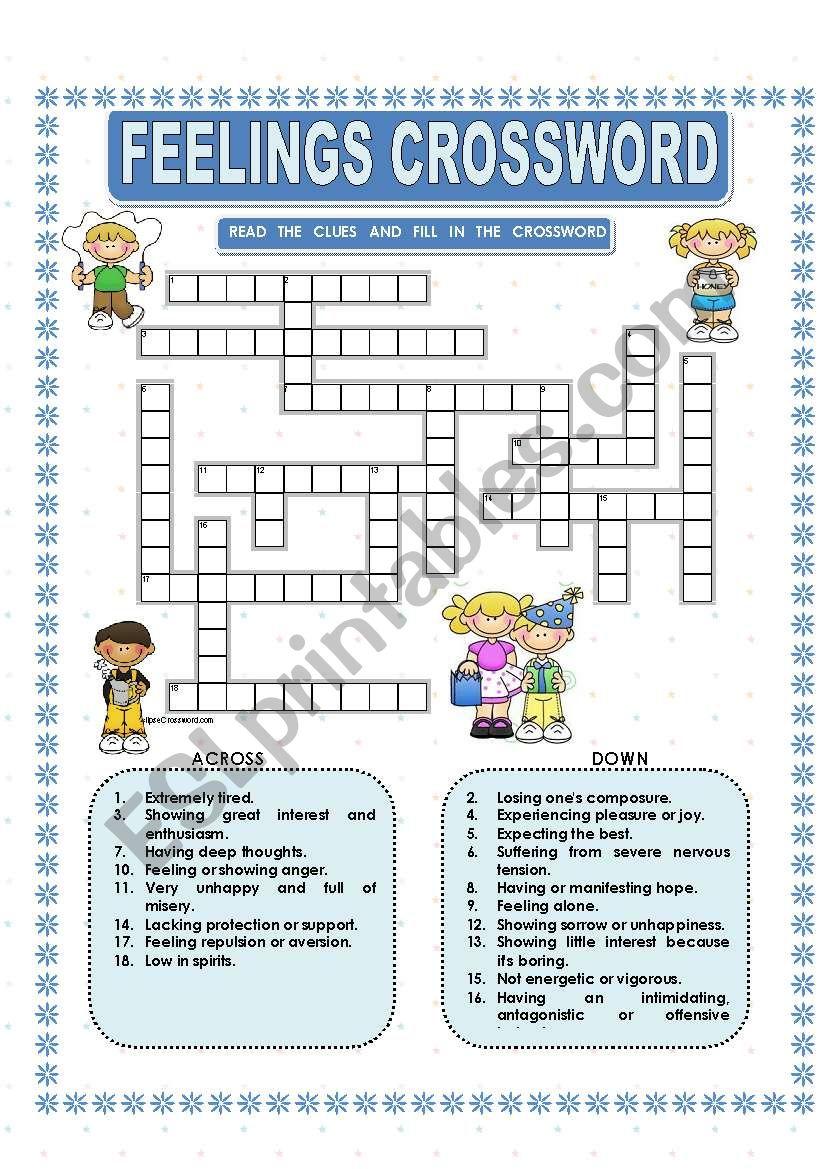 Feelings - Crossword - Esl Worksheetmacomabi - Feelings Crossword Puzzle Printable