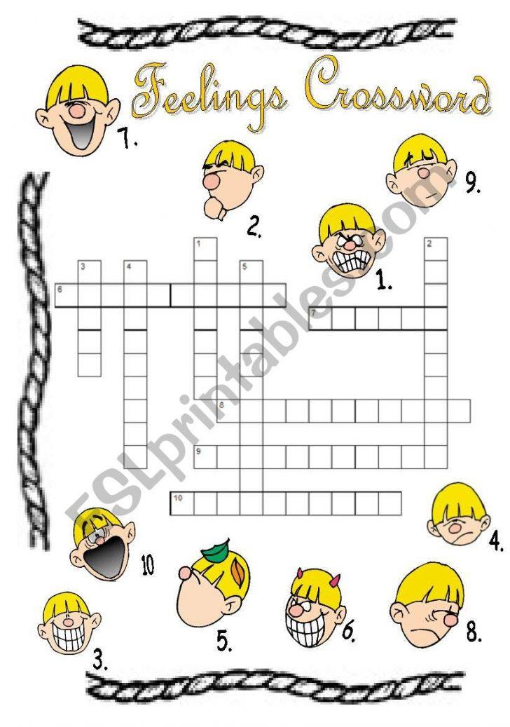 Feelings Crossword Puzzle Printable