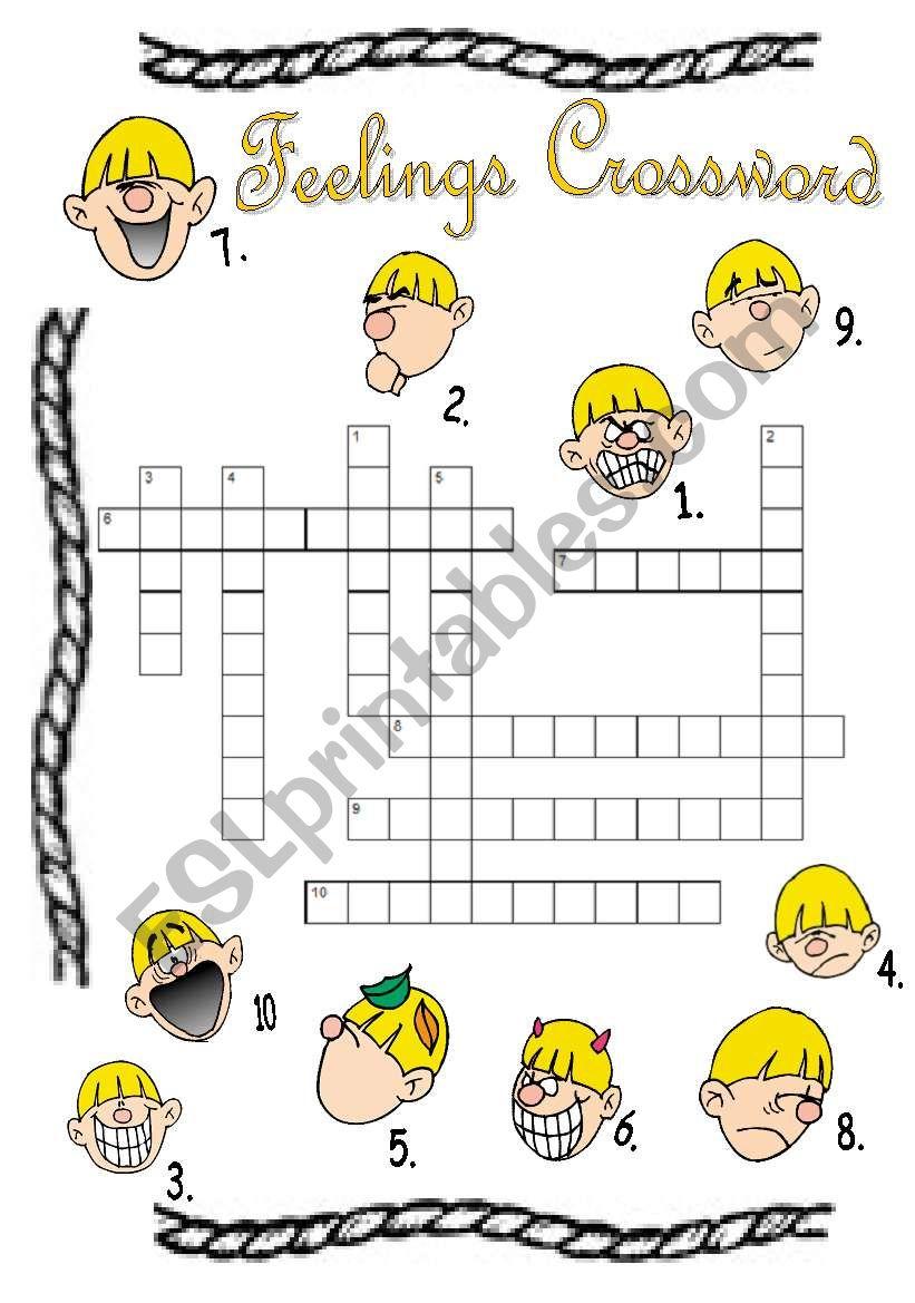 Feelings Crossword Puzzle B/w Version Included! + Answer Key - Esl - Feelings Crossword Puzzle Printable