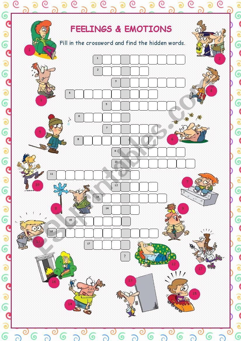 Feelings & Emotions Crossword Puzzle - Esl Worksheetkissnetothedit - Feelings Crossword Puzzle Printable