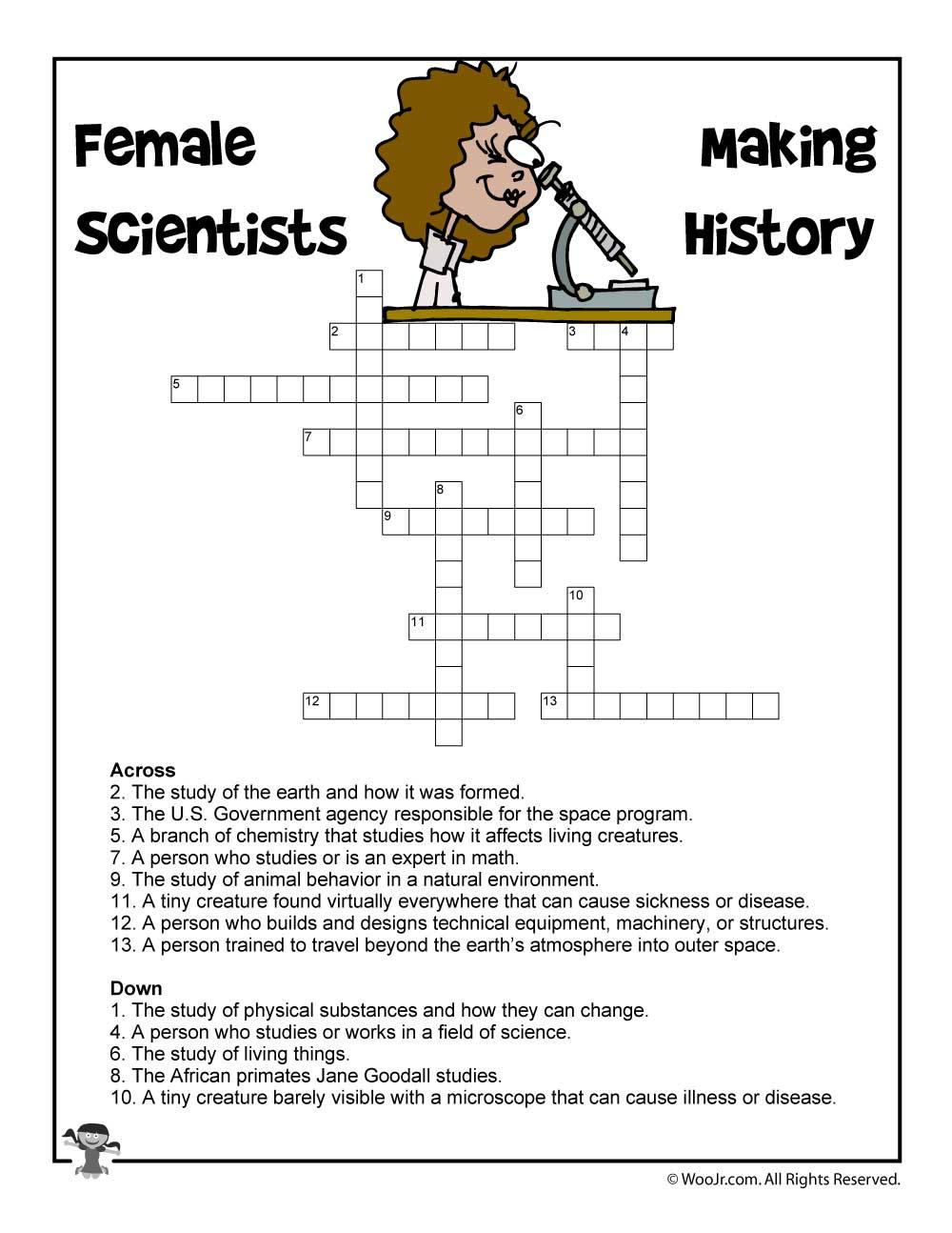Female Scientists Crossword Puzzle | Woo! Jr. Kids Activities - Printable Crossword Puzzles Science