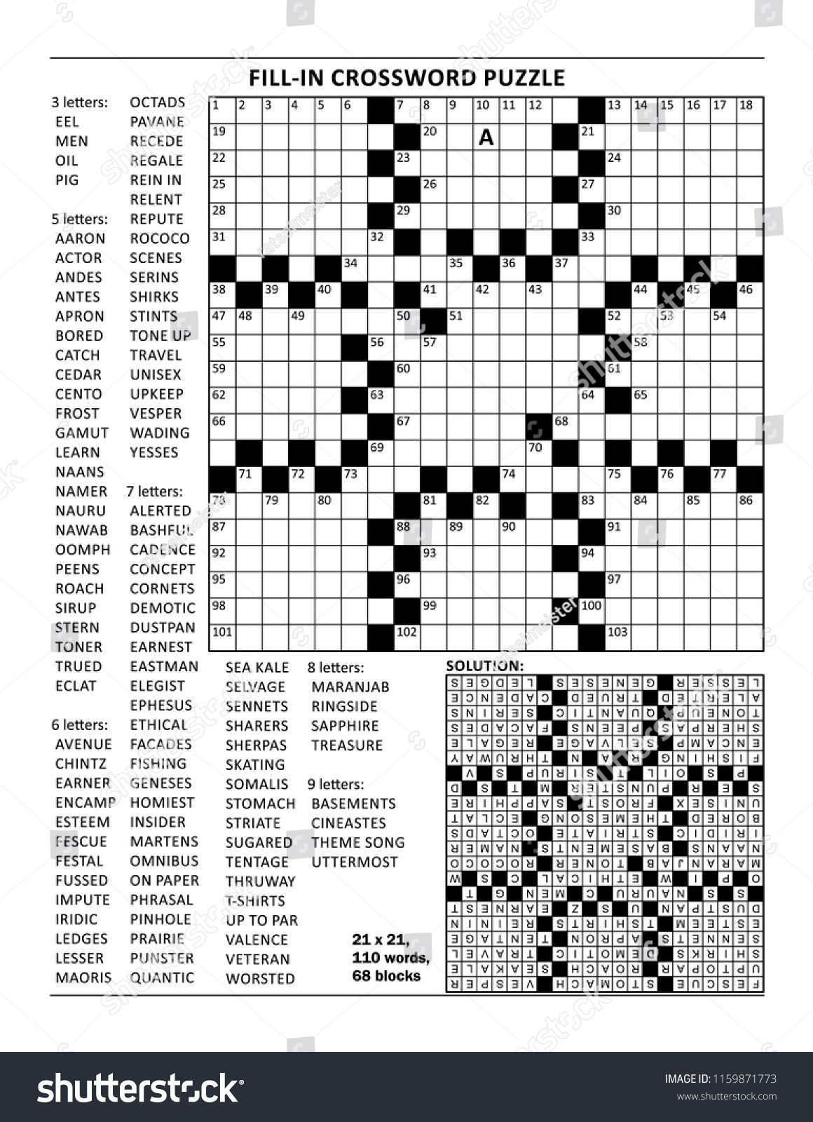 Fill In The Blanks Crossword Puzzle With American Style Grid Of - Printable Blank Crossword Puzzle Grid