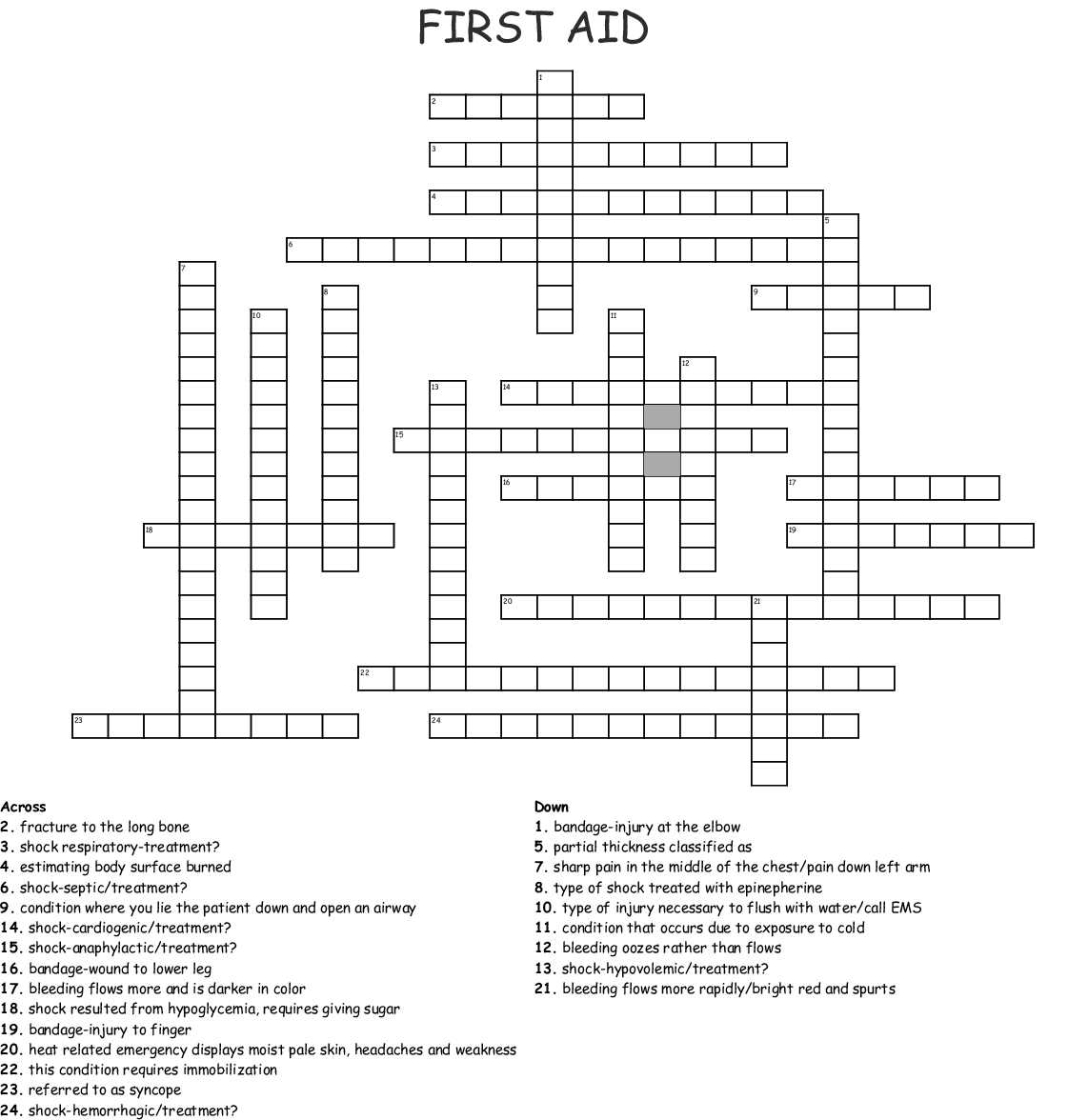 First Aid Crossword - Wordmint - Printable Crossword Puzzle First Aid
