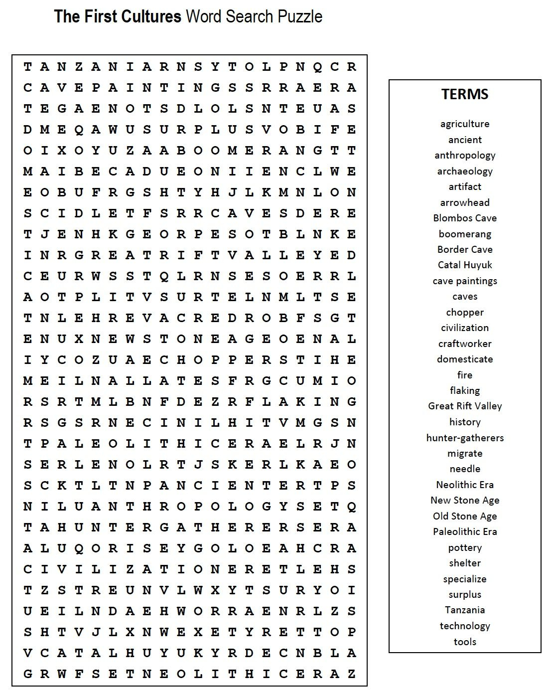 First Cultures Word Search | Teaching, Etc. | Word Search Puzzles - Crossword Puzzles Printable 7Th Grade