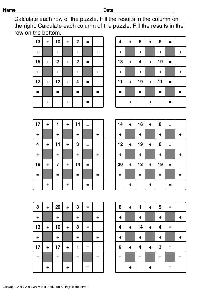 First Grade Or 2Nd Grade Math Puzzles | Dementia Support Group - Printable Crossword Puzzles For 2Nd Graders