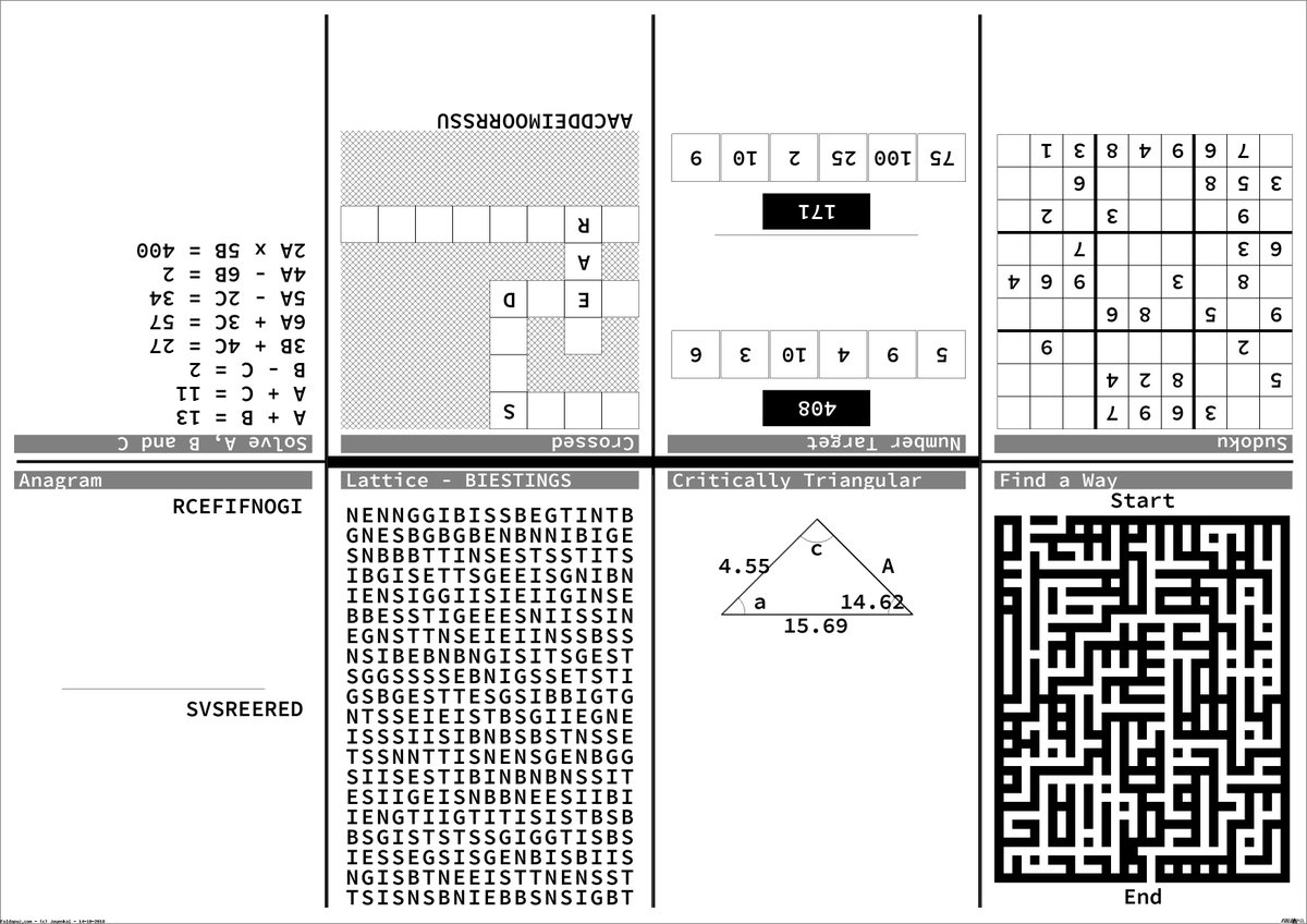 """Foldapuz On Twitter: """"a Selection Of Pen And Paper Puzzles For Today - Printable Puzzle Paper"""