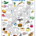 Food And Drink Crossword   Esl Worksheetalyona C.   Printable Crossword Food