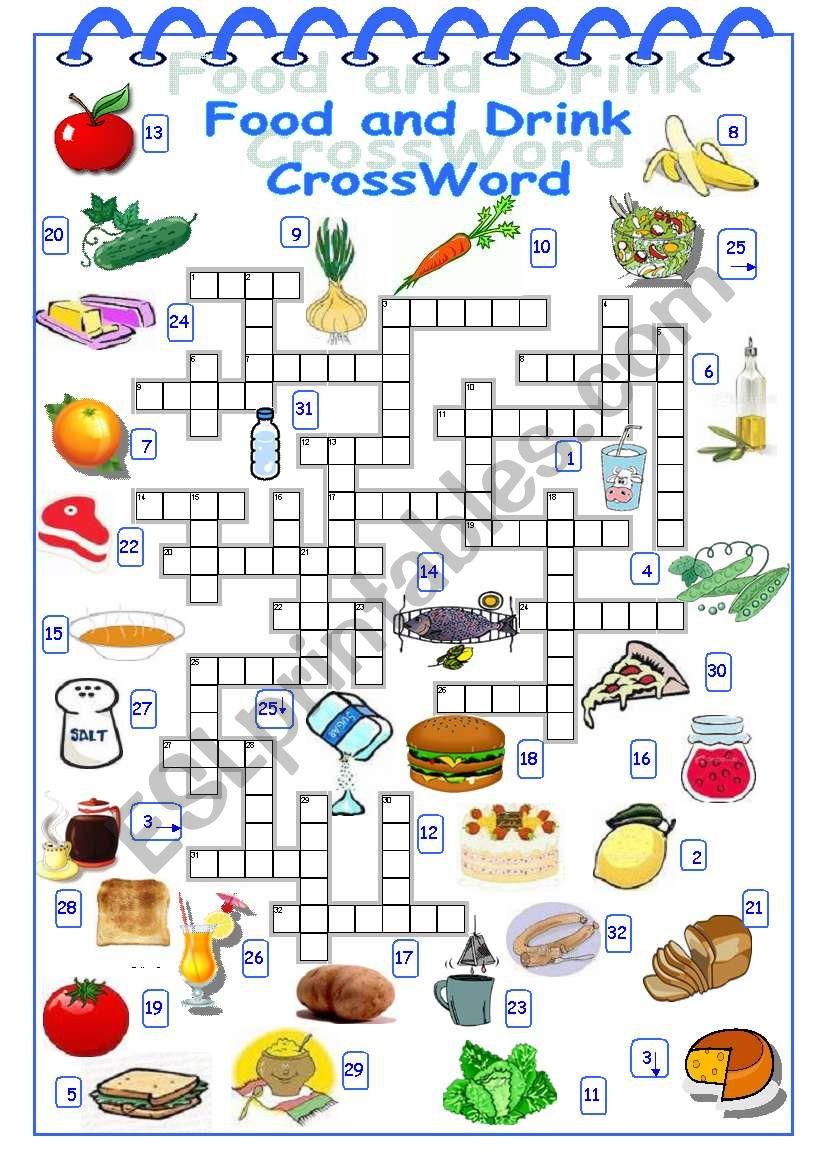 Food And Drink Crossword - Esl Worksheetalyona C. - Printable Crossword Food