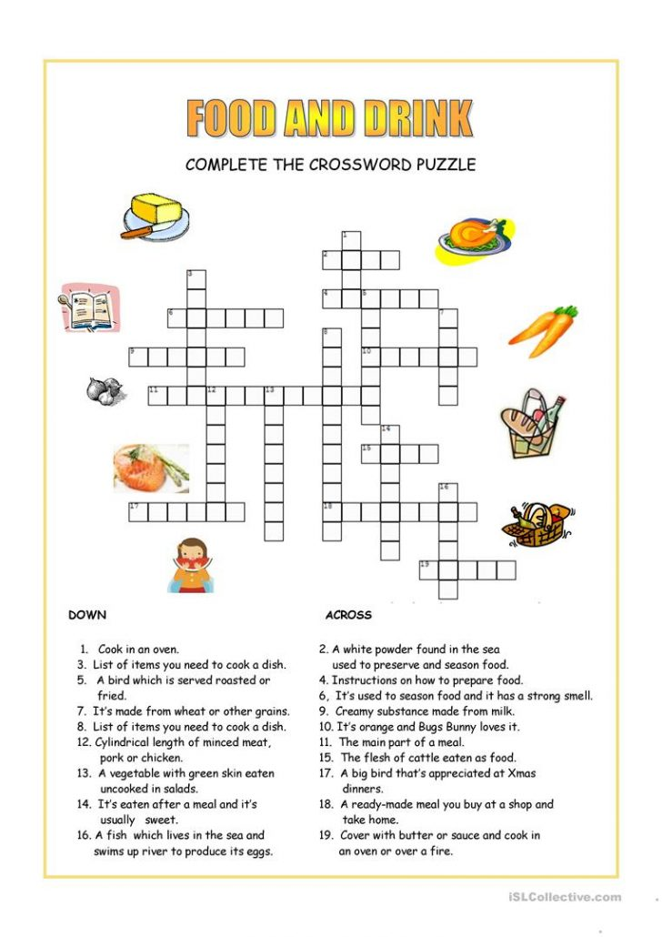 Printable Crossword Puzzles About Food