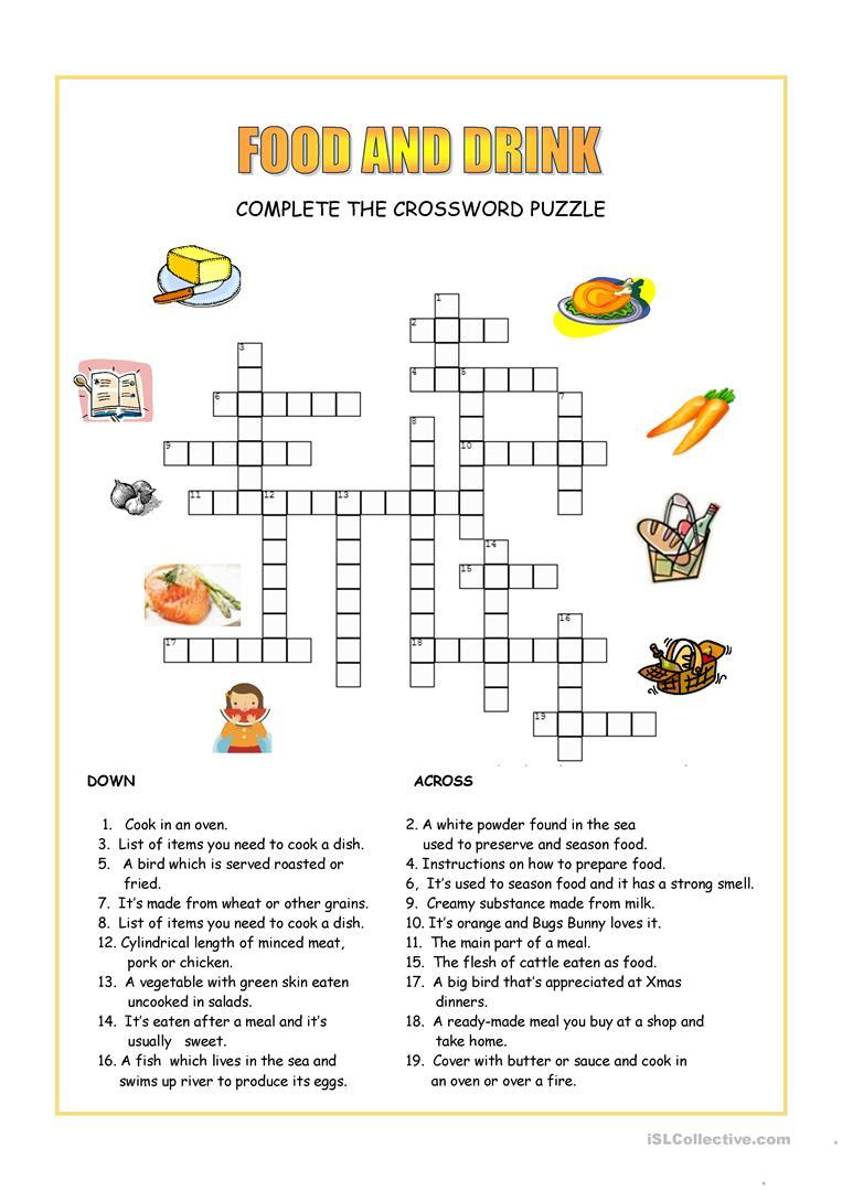 Food And Drink Crossword Worksheet - Free Esl Printable Worksheets - Printable Food Puzzle