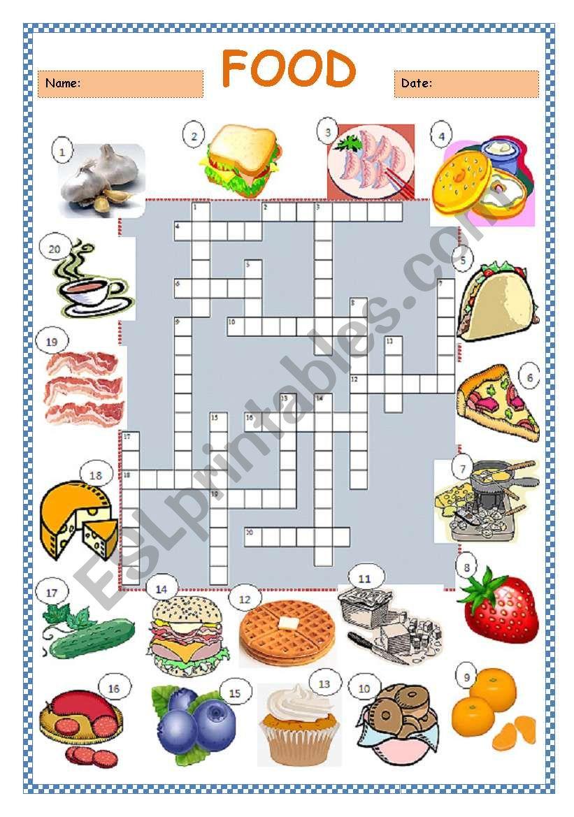 Food Crossword Puzzle - Esl Worksheetlimetree22 - Printable Crossword Puzzles About Food