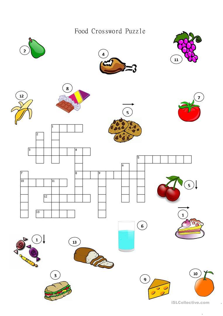 Food Crossword Puzzle Worksheet - Free Esl Printable Worksheets Made - Printable Crossword Puzzles About Food