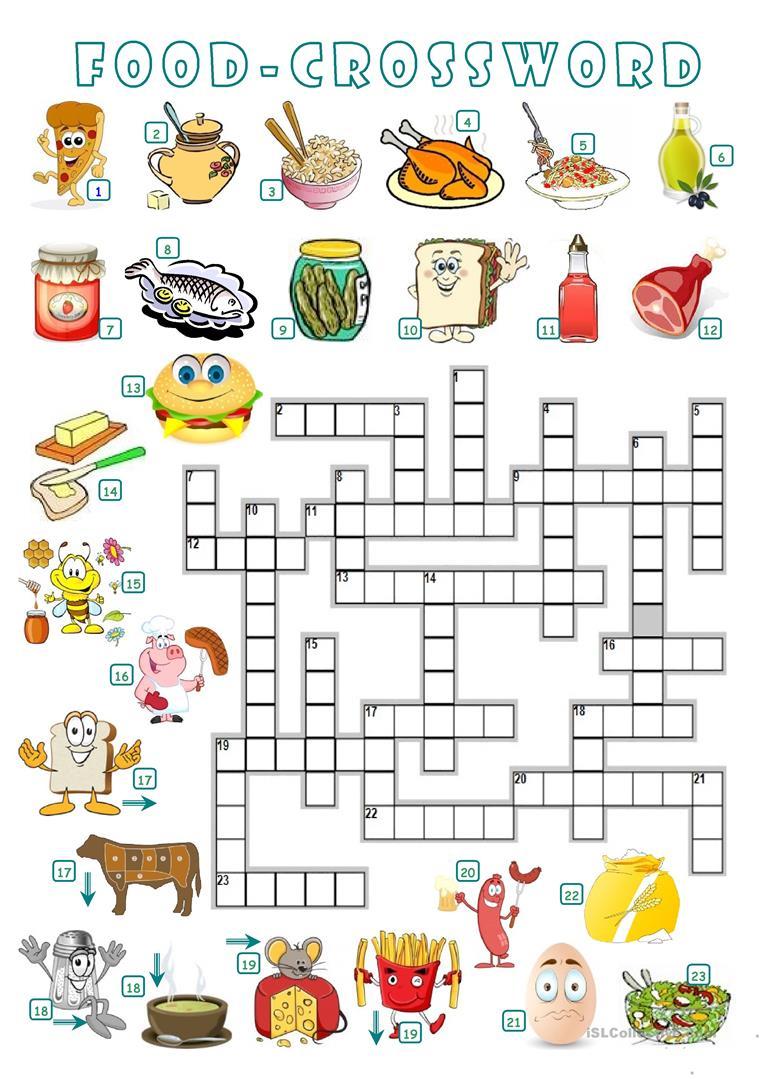 Food - Crossword Worksheet - Free Esl Printable Worksheets Made - Printable Crossword Food