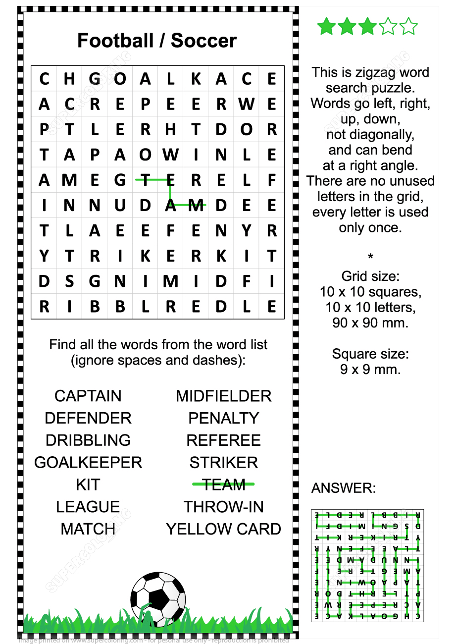 Football Soccer Zigzag Word Search Puzzle For Kids And Adults | Free - Printable Crossword Puzzles Soccer