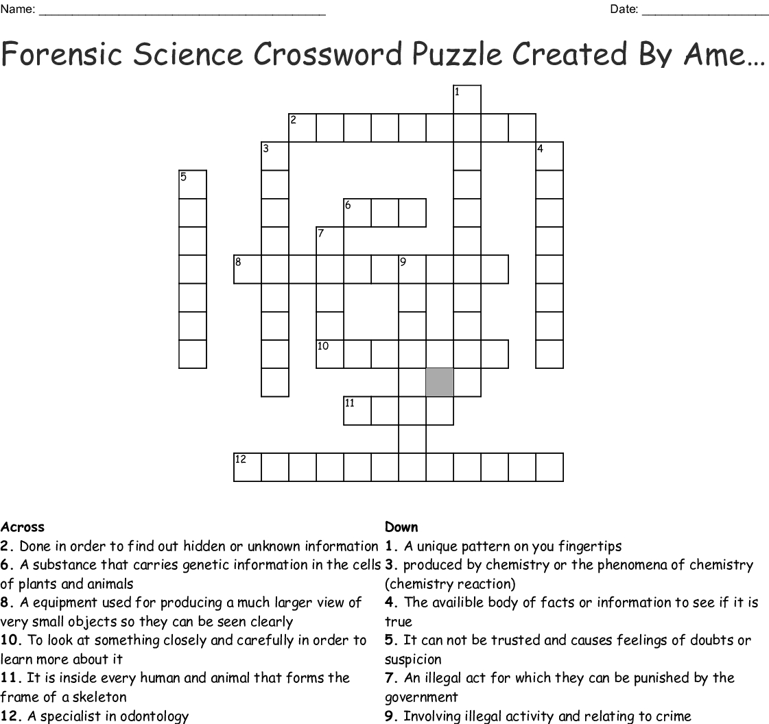 Forensic Science Crossword Puzzle Createdamelia Crossword - Wordmint - Printable Science Crossword Puzzles