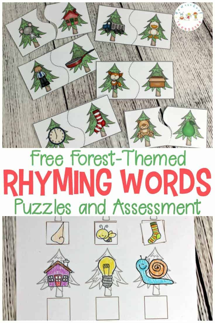 Forest-Themed Printable Rhyming Puzzles For Kids - Printable Rhyming Puzzles