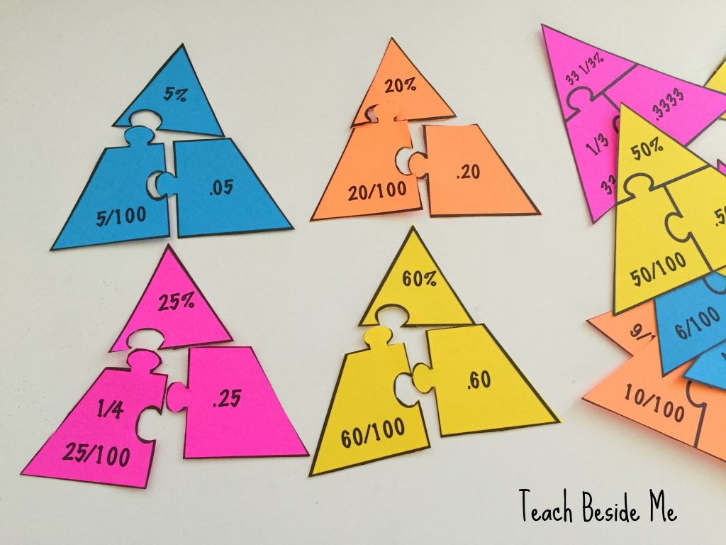 Fraction – Percentage – Decimal Math Puzzles – Teach Beside Me - Printable Decimal Puzzles
