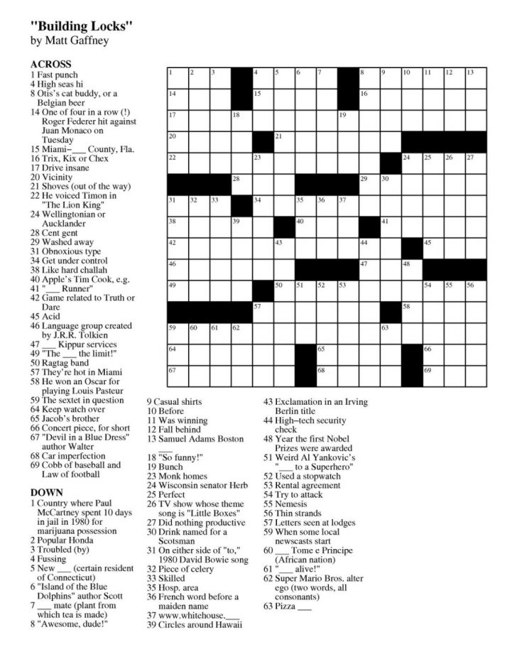 Easy Crossword Puzzles Free Online Printable