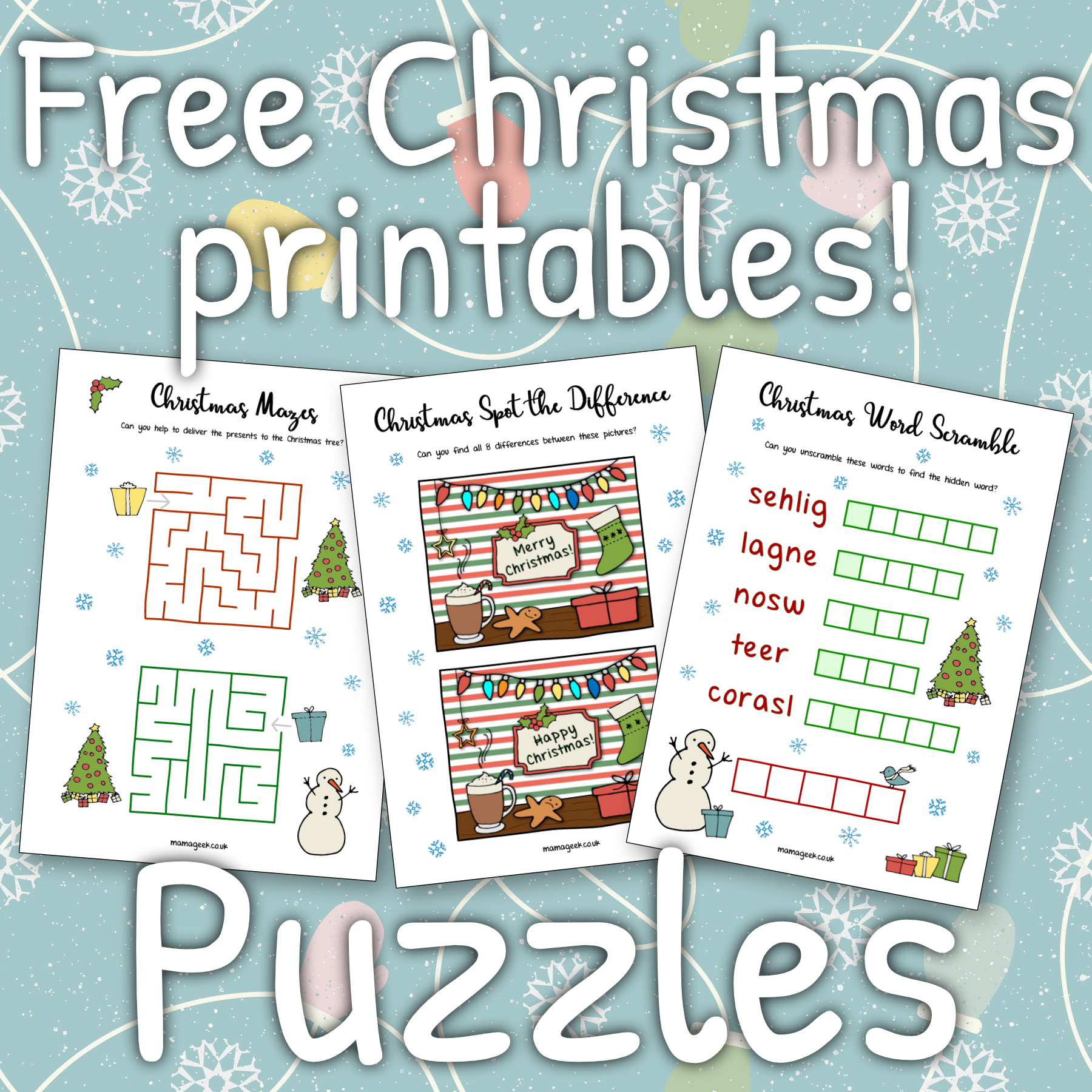 Free Christmas Printables - Puzzles ⋆ Mama Geek - Christmas Puzzles Printable Uk