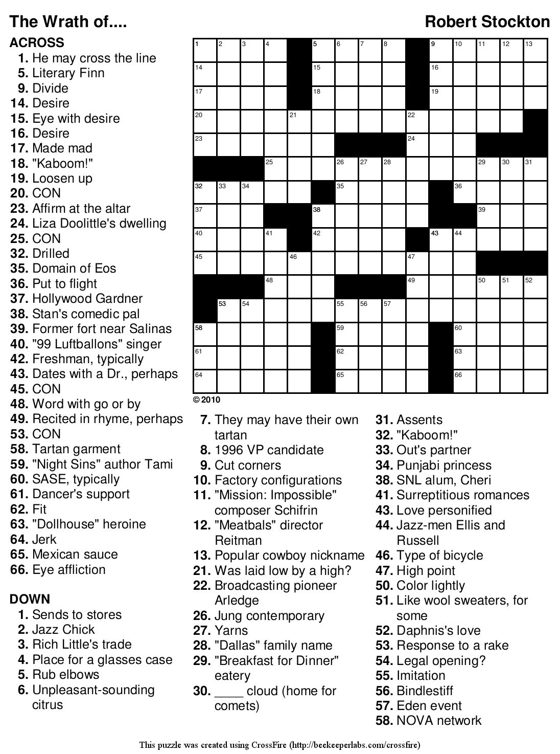 image relating to Daily Printable Crossword referred to as Free of charge Everyday Printable Crosswords Absolutely free Printables