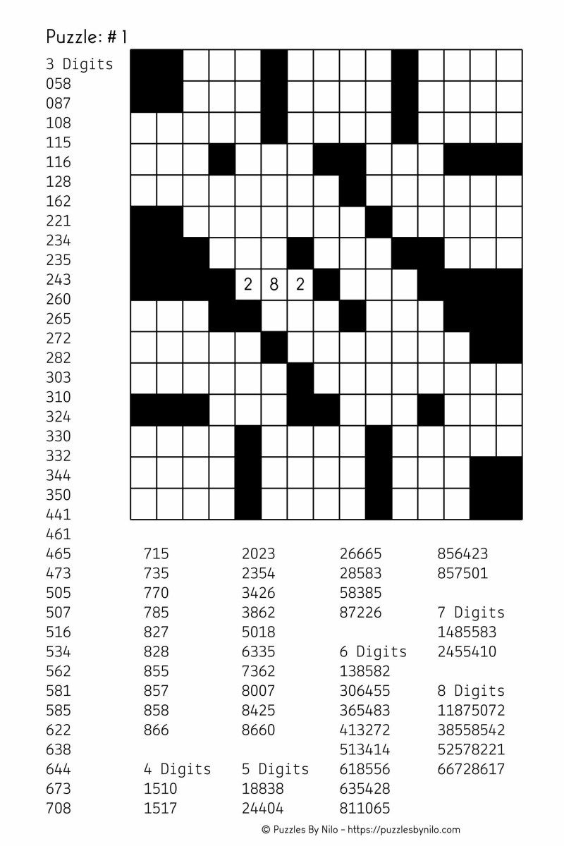 Free Downloadable Number Fill In Puzzle - # 001 - Get Yours Now - Number Crossword Puzzles Printable