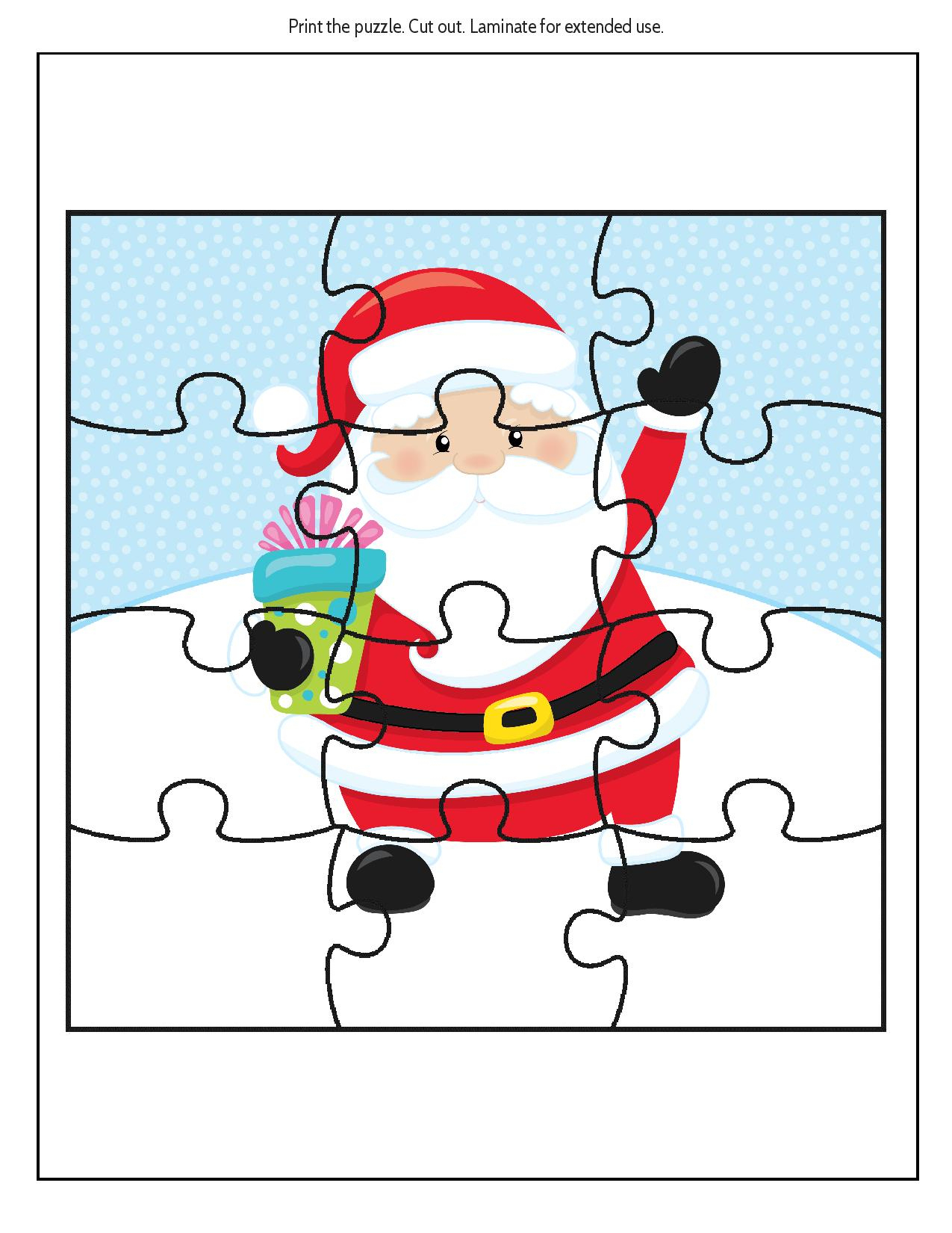 image about Free Printable Christmas Puzzles named Printable Santa Puzzle Printable Crossword Puzzles