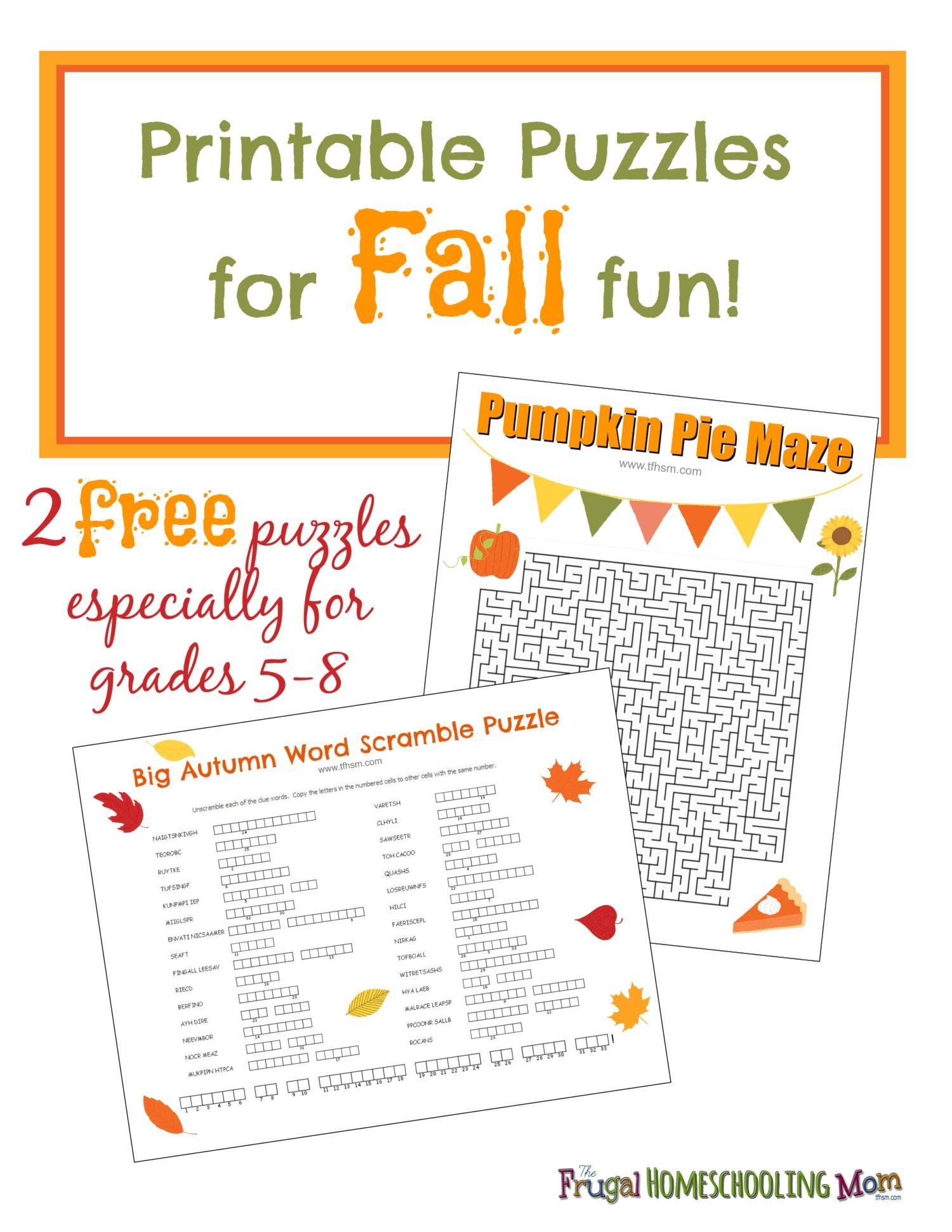 Free Fall Printable Puzzles – The Frugal Homeschooling Mom Aka Tfhsm - Printable Puzzles For Middle School