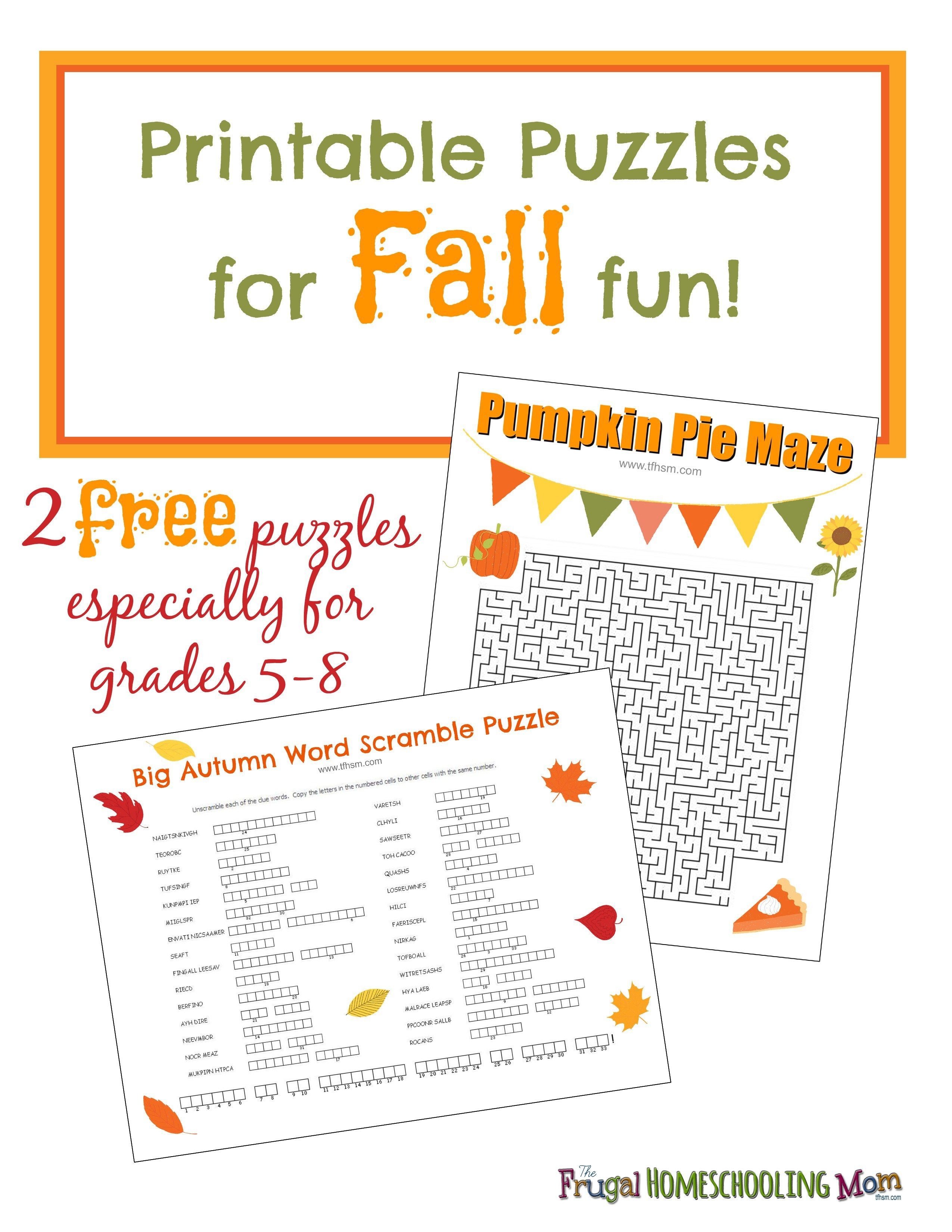 Free Fall Printable Puzzles | Ultimate Homeschool Board | Middle - Printable Halloween Puzzles For Middle School