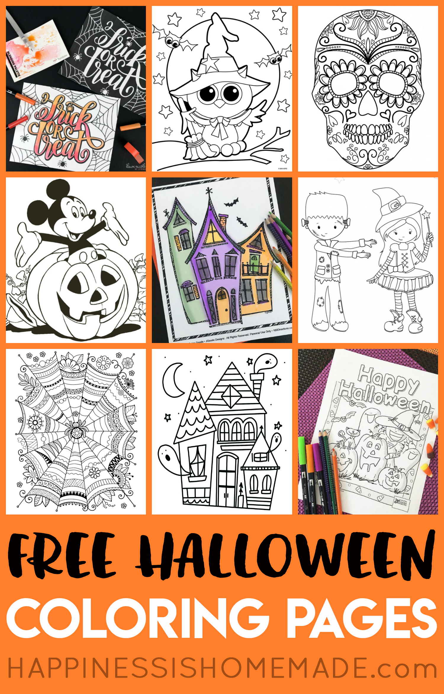 Free Halloween Coloring Pages For Adults & Kids - Happiness Is Homemade - Printable Halloween Puzzle Pages