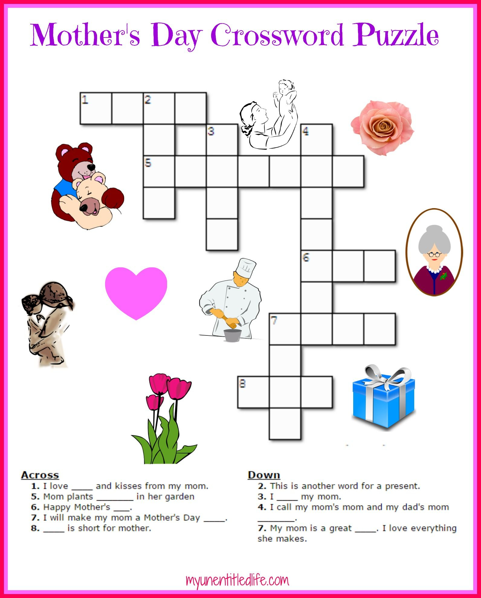 Free Mother's Day Crossword Puzzle Printable | Crafts For Kids - Printable Puzzle Of The Day