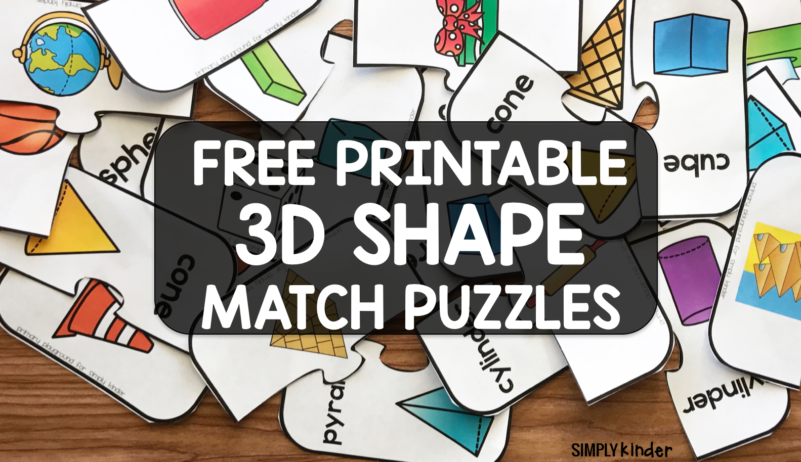 Free Printable 3D Shape Puzzles - Simply Kinder - Printable 3D Puzzle