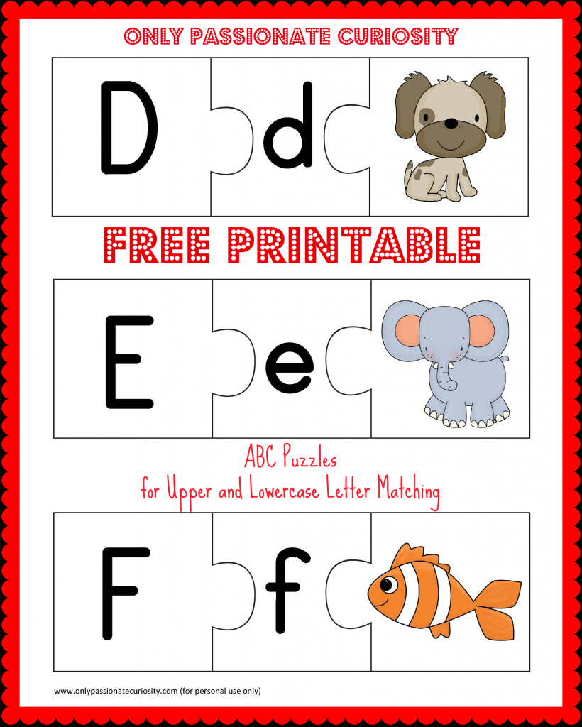 Free Printable Abc Puzzles | School Is Fun | Upper, Lowercase - Printable Puzzle Alphabet