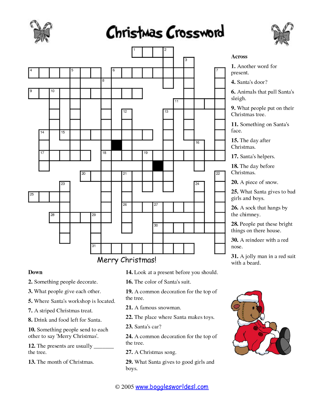 Free Printable Cards: Free Printable Crossword Puzzles | Christmas - Christmas Printable Crossword Puzzles Adults