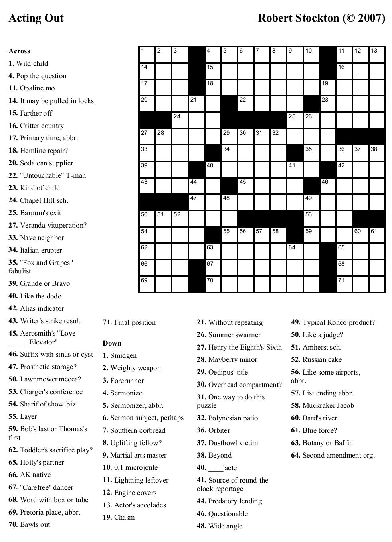 Free Printable Cards: Free Printable Crossword Puzzles | Free - Free - Printable Daily Crosswords For January 2018
