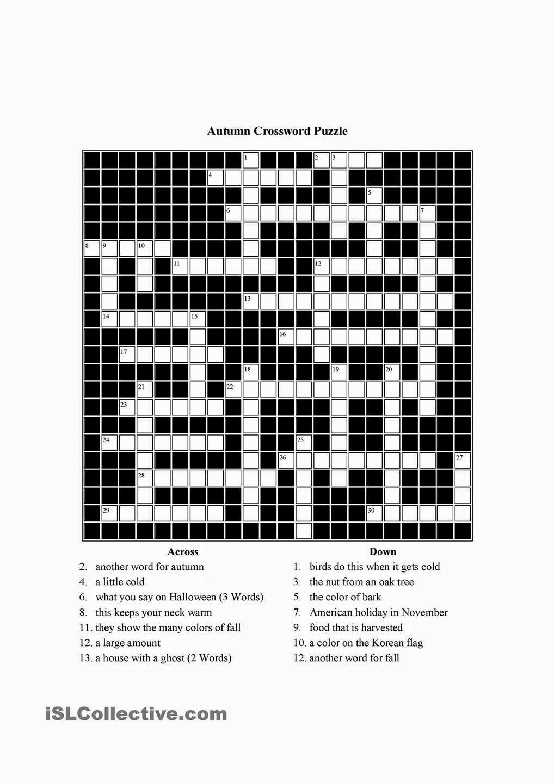 Free Printable Cards: Free Printable Crossword Puzzles | Free - Printable Crossword Puzzles English Learners
