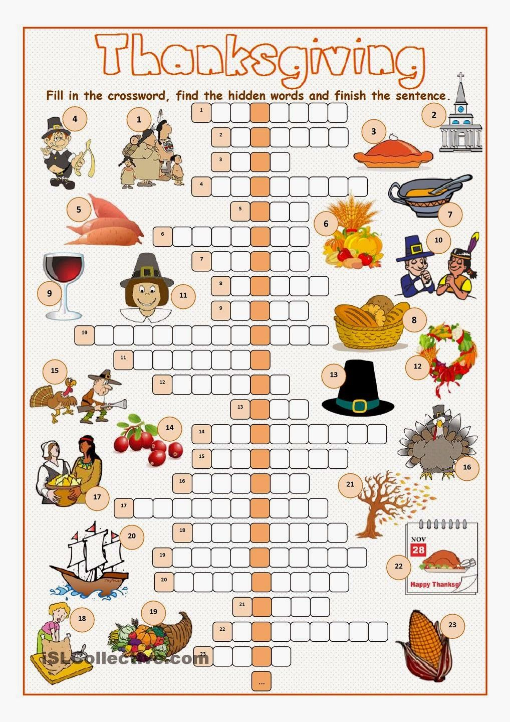 Free Printable Cards: Free Printable Crossword Puzzles - Printable Thanksgiving Crossword Puzzles For Adults