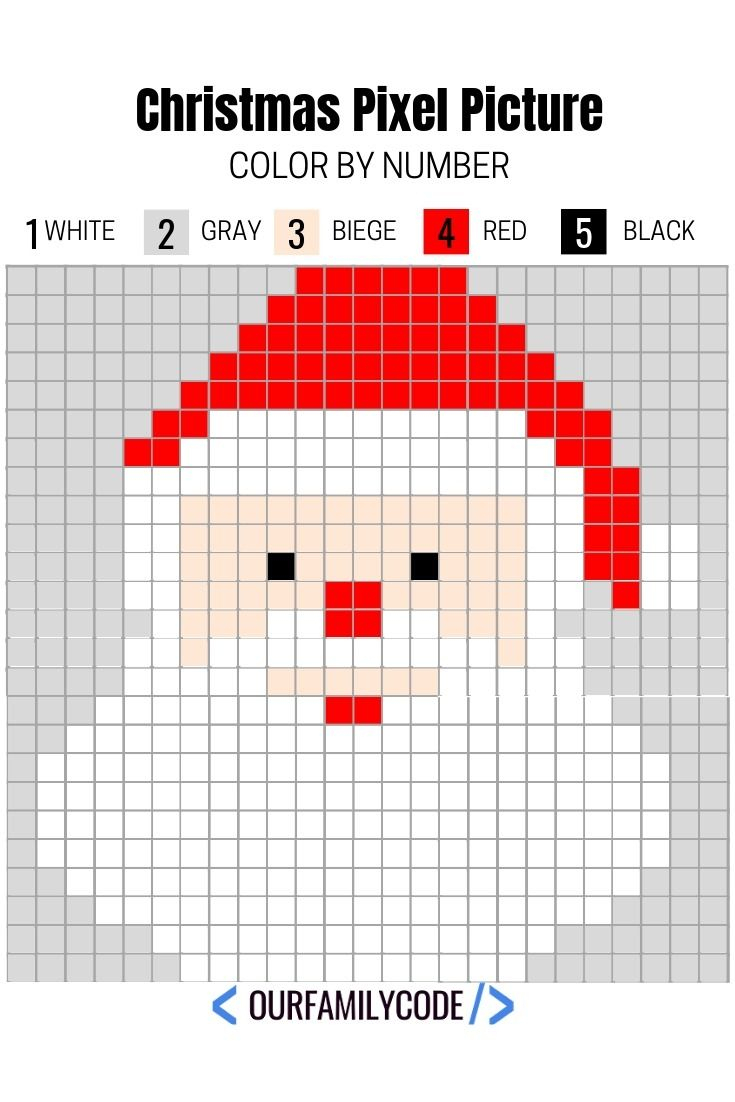 Free Printable Christmas Pixel Puzzles Activity For Kids | Teaching - Printable Pixel Puzzles