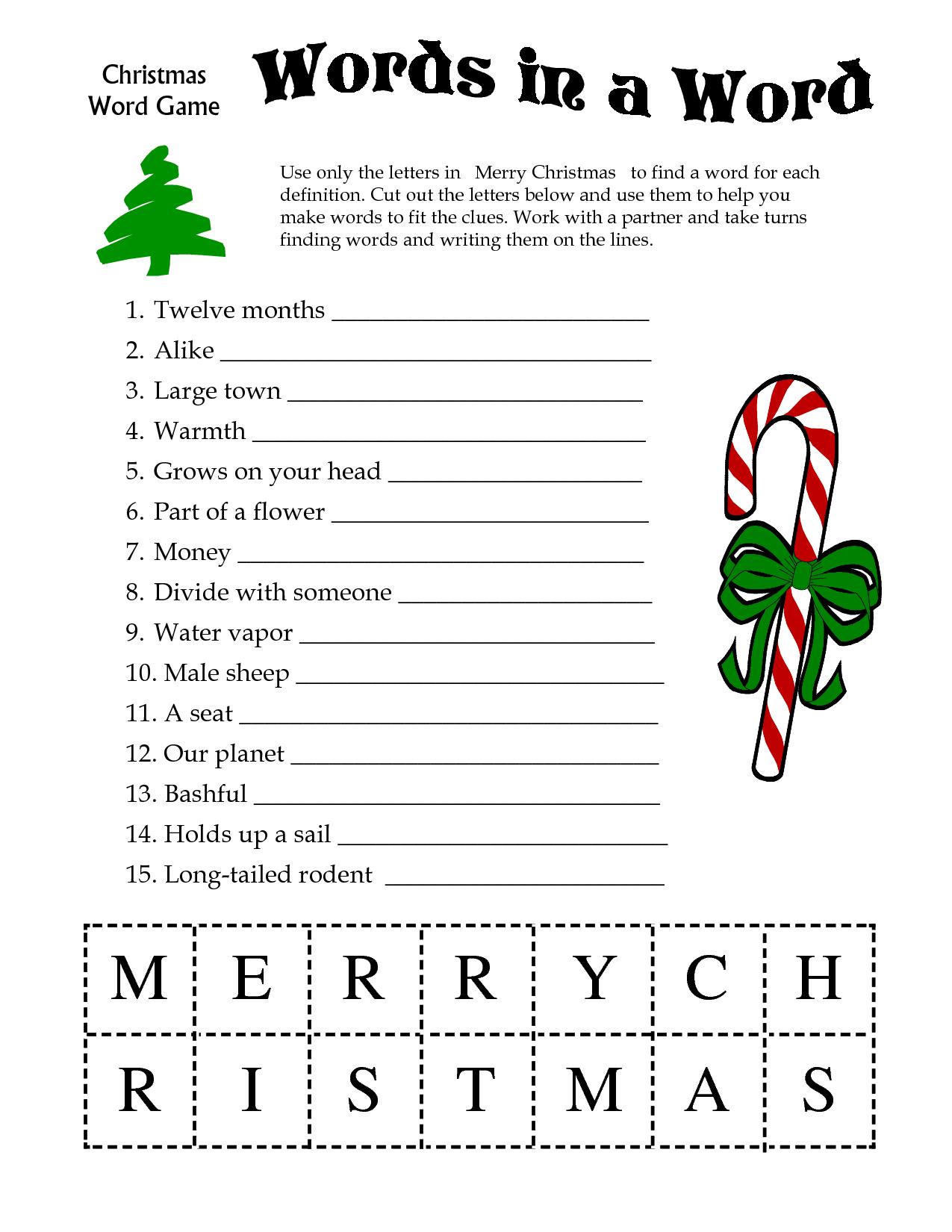 Free Printable Christmas Word Games Puzzles – Festival Collections - Christmas Printable Puzzles Games